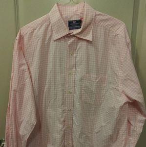 Vineyard Vines pink plaid shirt mens XL